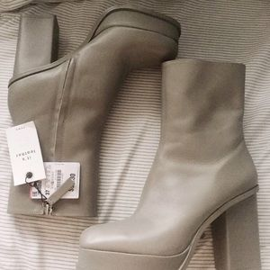Zara leather platform boots